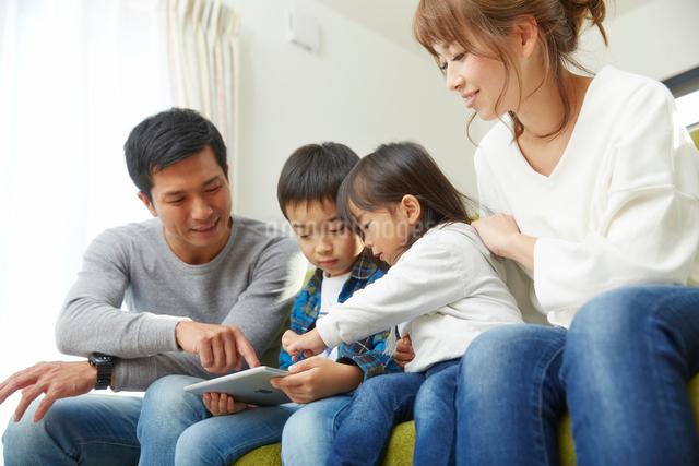 リビングでタブレット端末を使う家族の写真素材 [FYI02478834]