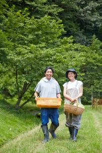 野菜を入れたカゴを持って歩く男女の写真素材 [FYI02481156]