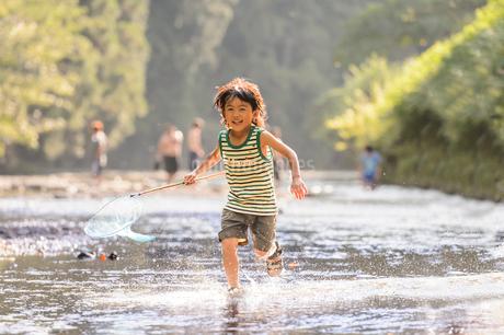 川で網を持って走る子どもの写真素材 [FYI02495145]