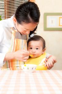 赤ちゃんに離乳食を食べさせる母親の写真素材 [FYI02503298]