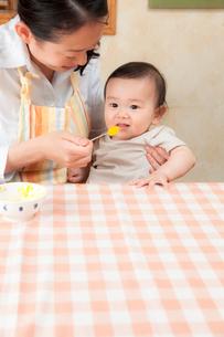 赤ちゃんに離乳食を食べさせる母親の写真素材 [FYI02503332]