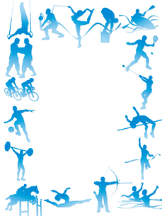 フレーム型のオリンピック競技のシルエット白背景のイラスト素材 [FYI02503893]