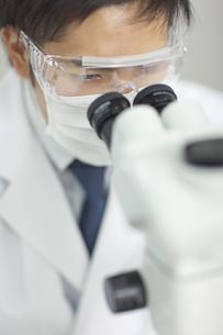 顕微鏡を覗く男性研究者の写真素材 [FYI02509081]