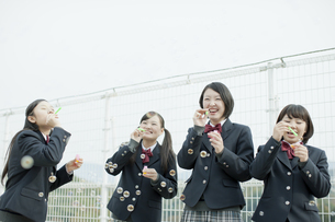 屋上でシャボン玉をする女子校生の写真素材 [FYI02509472]