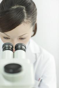 顕微鏡を覗く日本人女性研究者の写真素材 [FYI02509726]