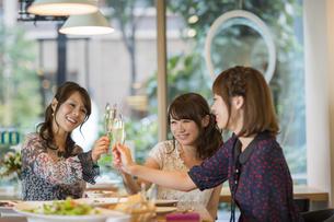 女子会で乾杯をする若い女性の写真素材 [FYI02510365]