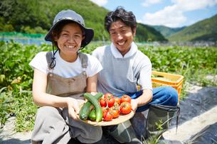 畑の前の土手に座る野菜を持つ男女の写真素材 [FYI02510402]