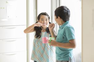 歯磨きをする兄と妹の写真素材 [FYI02511932]