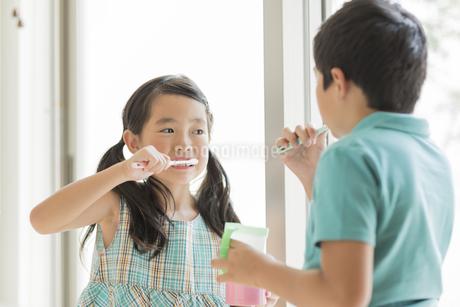 歯磨きをする兄と妹の写真素材 [FYI02512867]