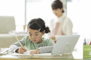 タブレットPCを使用して勉強をする女の子の写真素材 [FYI02513240]