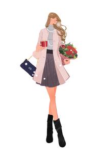 冬の街で、プレゼントと花束を持ち歩く女性のイラスト素材 [FYI02515099]