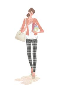 本を抱えて歩く春の女性のイラスト素材 [FYI02515118]