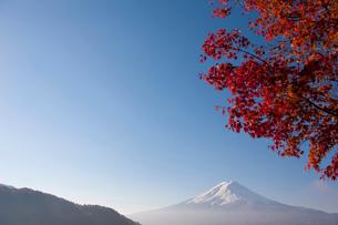 河口湖の紅葉と富士山の写真素材 [FYI02516805]