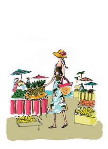 南国ビーチの果物市場(背景色なし)のイラスト素材 [FYI02518595]