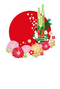 年賀状/門松と花・赤のイラスト素材 [FYI02522139]