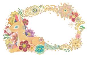 子馬と花と光の輪(ヨコ)のイラスト素材 [FYI02522173]