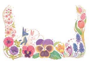 4月(春)をイメージした花とウサギの飾りのイラスト素材 [FYI02522255]