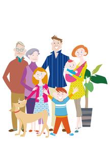 三世代家族と犬のイラスト素材 [FYI02522527]