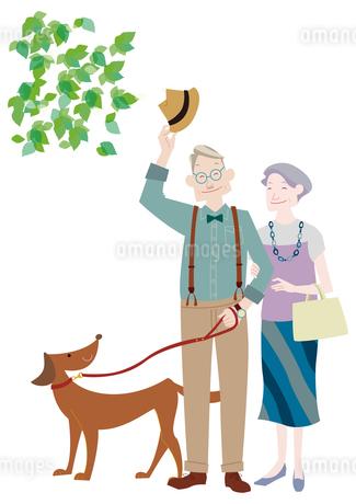 犬の散歩をするおしゃれな老夫婦のイラスト素材 [FYI02522658]