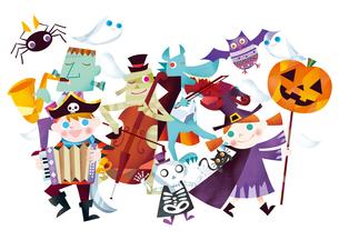 ハロウィンのパレードをするお化けと仮装する子供たちのイラスト素材 [FYI02522680]