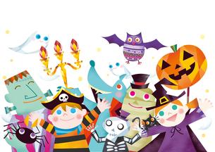 ハロウィンのパレードをするお化けと仮装する子供たちのイラスト素材 [FYI02522704]