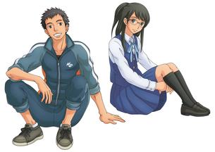 ジャージの男子生徒と制服の女子生徒(個別使用向け)のイラスト素材 [FYI02524012]