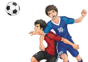 サッカーの試合中に競り合う二人(背景なし)のイラスト素材 [FYI02524084]