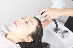 シャンプー台で髪を流してもらっている客の写真素材 [FYI02524534]