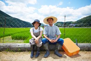 水田の前で丸太に腰掛ける笑顔の男女の写真素材 [FYI02525350]