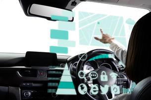 自動運転車に乗る女性の写真素材 [FYI02525351]