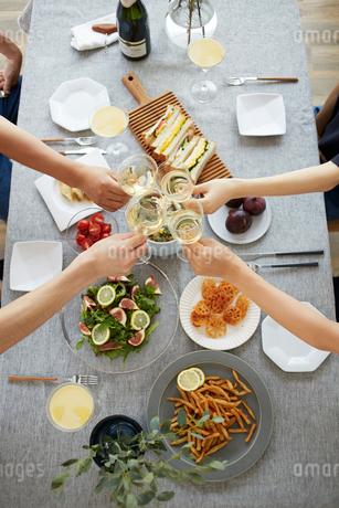 ホームパーティーで乾杯をする男女の手元の写真素材 [FYI02525886]
