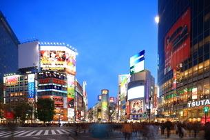 夕暮れの渋谷駅前交差点の写真素材 [FYI02526071]