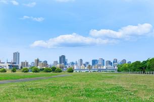 芝生と街並みの写真素材 [FYI02527090]