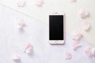 スマートフォンとスイートピーの花びらの写真素材 [FYI02529776]