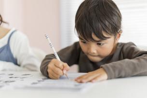 教室で勉強をする男の子の写真素材 [FYI02538099]