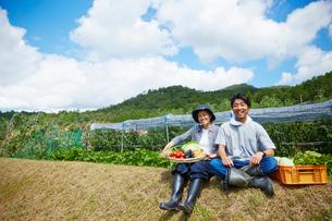 畑の前の土手に座る野菜を持つ男女の写真素材 [FYI02544599]