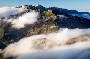 雲湧く後立山連峰(五竜岳より唐松岳、白馬岳を望む)の写真素材 [FYI02546202]