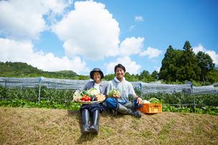 畑の前の土手に座る野菜を持つ男女の写真素材 [FYI02548780]