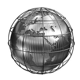 メタル地球ヨーロッパ・アフリカのイラスト素材 [FYI02552840]