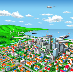 海辺の街とエネルギーと交通のイラスト素材 [FYI02552848]
