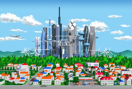 街と未来都市のイラスト素材 [FYI02552856]