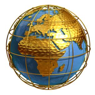 ゴールド地球ヨーロッパアフリカのイラスト素材 [FYI02552865]