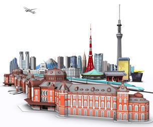 東京の街並み3白バックのイラスト素材 [FYI02552878]