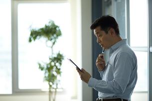 タブレットPCを使うビジネスマンの写真素材 [FYI02555144]