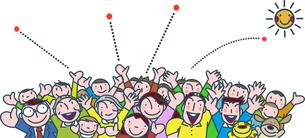 集まる人々の活気のイラスト素材 [FYI02555949]