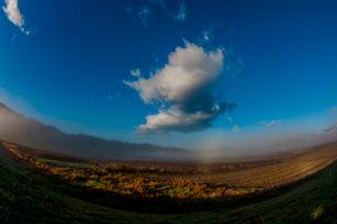 霧 川霧 青空 雲の写真素材 [FYI02558371]