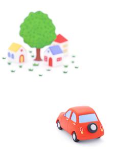 赤い粘土の車と家並みの写真素材 [FYI02559511]