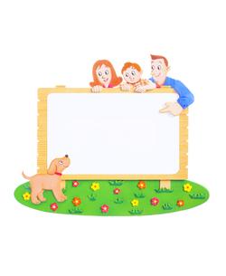 看板と家族とペットのイラスト素材 [FYI02559635]