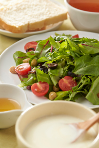 ベビーリーフのサラダとヨーグルトの写真素材 [FYI02562914]