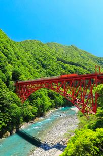 黒部峡谷鉄道・トロッコ電車と快晴の空の写真素材 [FYI02564067]